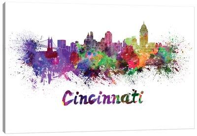 Cincinnati Skyline In Watercolor Canvas Art Print