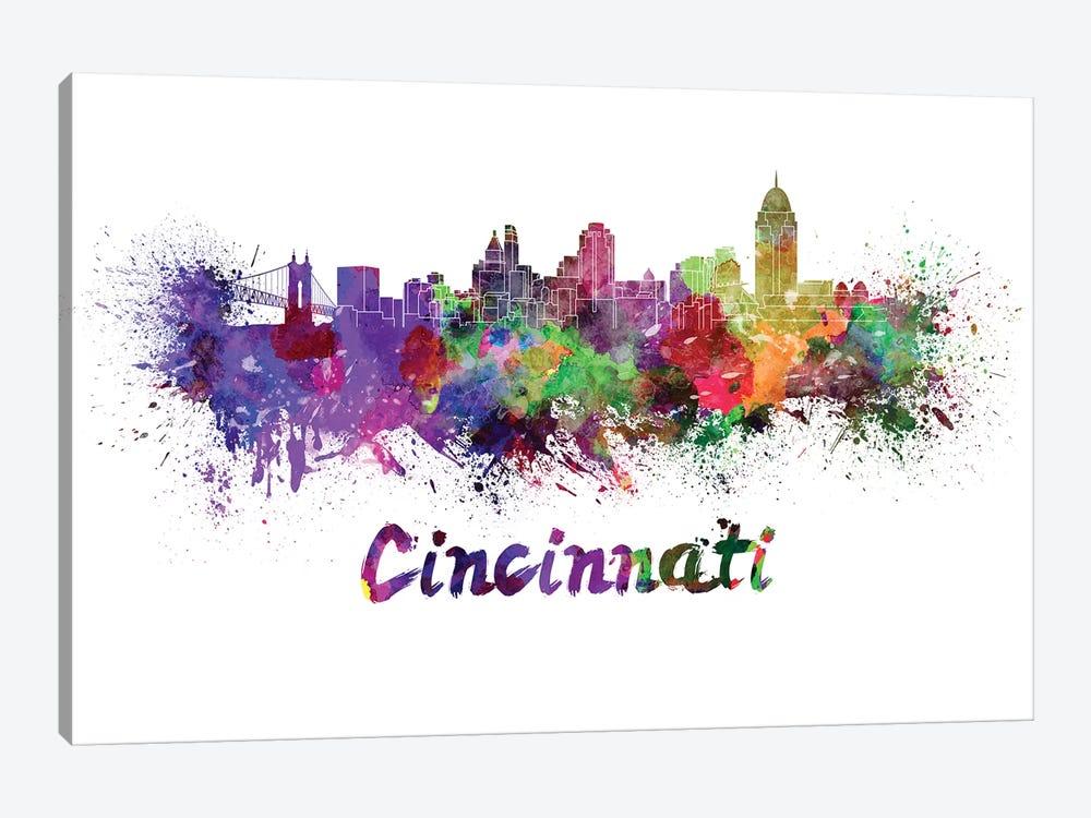 Cincinnati Skyline In Watercolor by Paul Rommer 1-piece Canvas Artwork