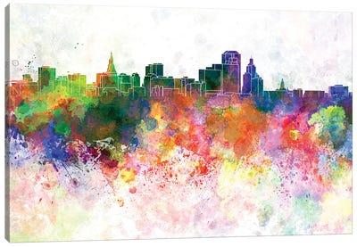 Hartford Skyline In Orange Background Canvas Art Print