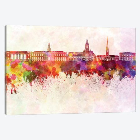 Harvard Skyline In Watercolor Background Canvas Print #PUR1449} by Paul Rommer Canvas Wall Art