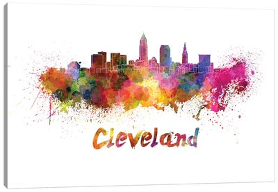 Cleveland Skyline In Watercolor Canvas Art Print