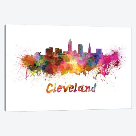 Cleveland Skyline In Watercolor 3-Piece Canvas #PUR144} by Paul Rommer Canvas Art