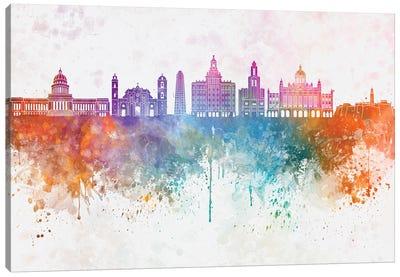 Havana II Skyline In Watercolor Background Canvas Art Print