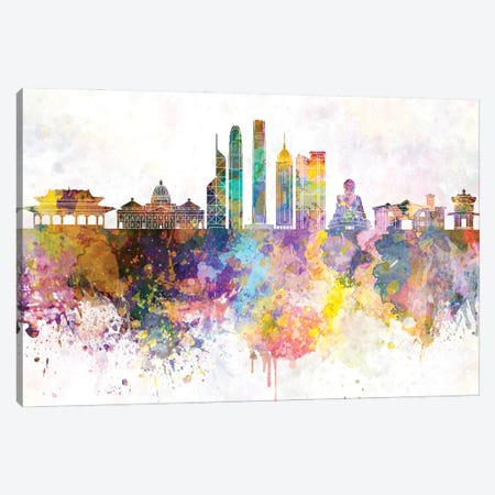 Hong Kong II Skyline In Watercolor Background Canvas Print #PUR1458} by Paul Rommer Canvas Art Print