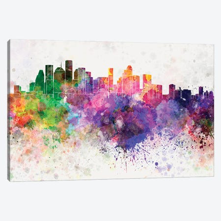 Houston Skyline In Watercolor Background Canvas Print #PUR1460} by Paul Rommer Canvas Art