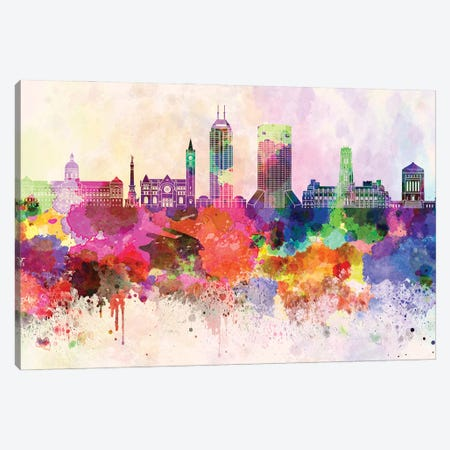 Indianapolis II Skyline In Watercolor Background Canvas Print #PUR1465} by Paul Rommer Canvas Art Print