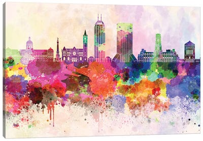 Indianapolis II Skyline In Watercolor Background Canvas Art Print