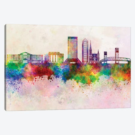 Jacksonville II Skyline In Watercolor Background Canvas Print #PUR1472} by Paul Rommer Canvas Print