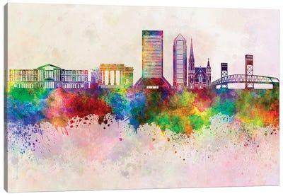 Jacksonville II Skyline In Watercolor Background Canvas Art Print