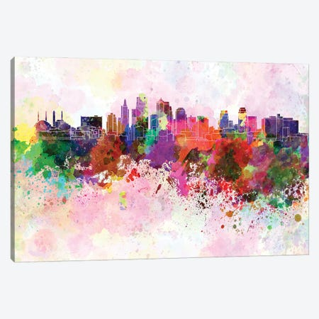 Kansas City Skyline In Watercolor Background Canvas Print #PUR1480} by Paul Rommer Canvas Wall Art
