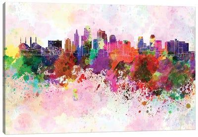 Kansas City Skyline In Watercolor Background Canvas Art Print