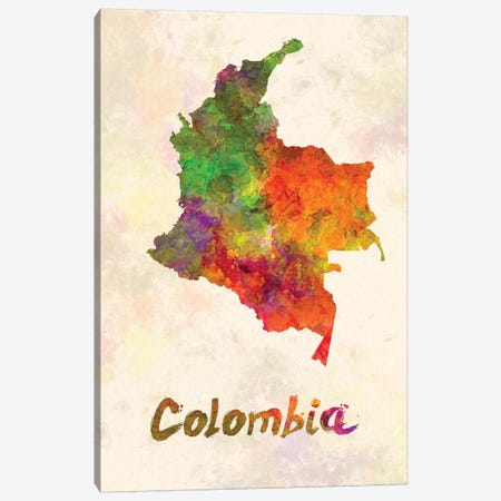 Colombia In Watercolor Canvas Print #PUR148} by Paul Rommer Art Print
