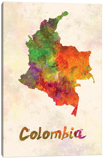 Colombia In Watercolor Canvas Art Print