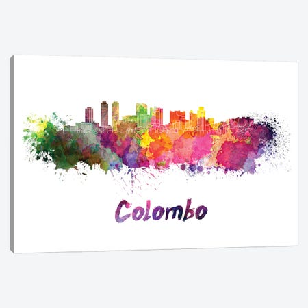 Colombo Skyline In Watercolor Canvas Print #PUR149} by Paul Rommer Canvas Art Print