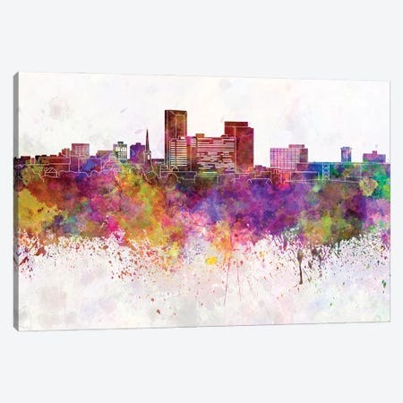 Lexington Skyline In Watercolor Background Canvas Print #PUR1504} by Paul Rommer Canvas Art
