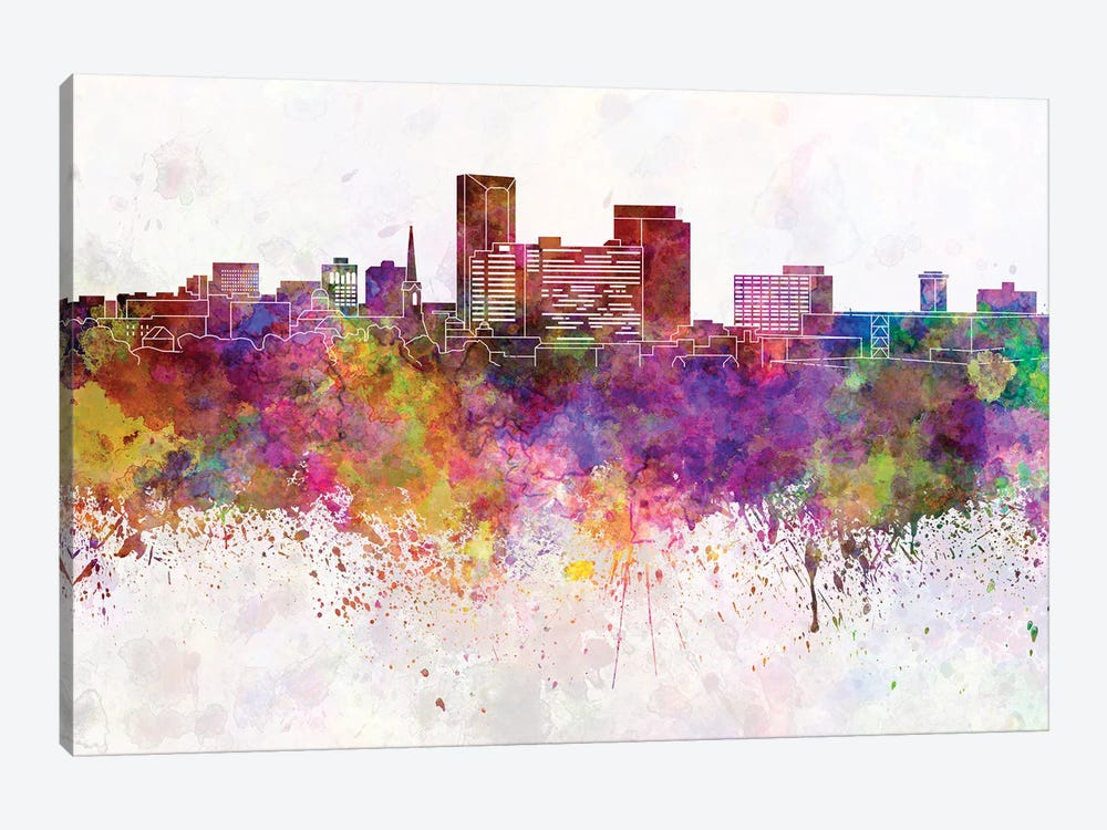 Lexington Skyline In Watercolor Background by Paul Rommer 1-piece Canvas Wall Art