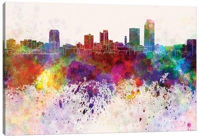 Little Rock Skyline In Watercolor Background Canvas Art Print