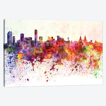 Liverpool Skyline In Watercolor Background Canvas Print #PUR1513} by Paul Rommer Canvas Wall Art