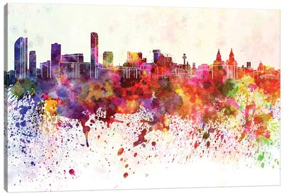 Liverpool Skyline In Watercolor Background Canvas Art Print