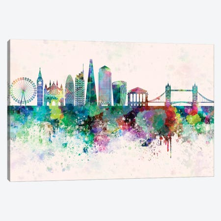 London V2 Skyline In Watercolor Background Canvas Print #PUR1518} by Paul Rommer Canvas Artwork