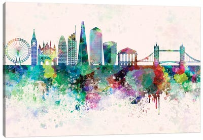 London V2 Skyline In Watercolor Background Canvas Art Print