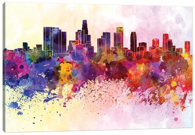 Los Angeles Skyline In Watercolor Background Canvas Art Print