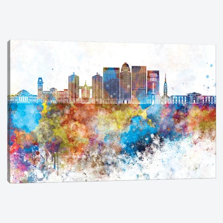 Louisville II Skyline In Watercolor Background Canvas Print #PUR1524} by Paul Rommer Canvas Wall Art