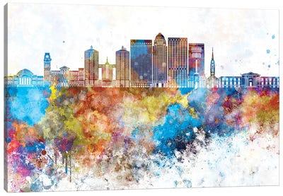Louisville II Skyline In Watercolor Background Canvas Art Print