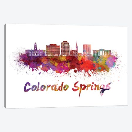 Colorado Springs Skyline In Watercolor II Canvas Print #PUR152} by Paul Rommer Canvas Wall Art