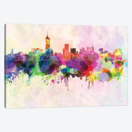 Manhattan Skyline In Watercolor Background Canvas Print #PUR1537} by Paul Rommer Canvas Art Print