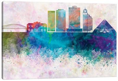 Memphis II Skyline In Watercolor Background Canvas Art Print