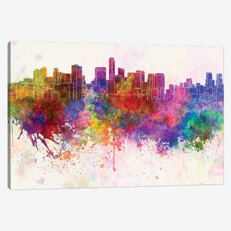 Mexico City Skyline In Watercolor Background Canvas Print #PUR1549} by Paul Rommer Canvas Art Print