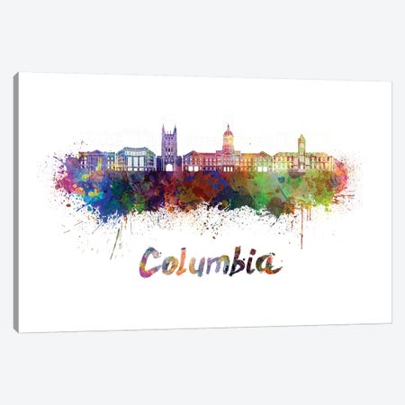Columbia Mo Skyline In Watercolor Canvas Print #PUR154} by Paul Rommer Art Print