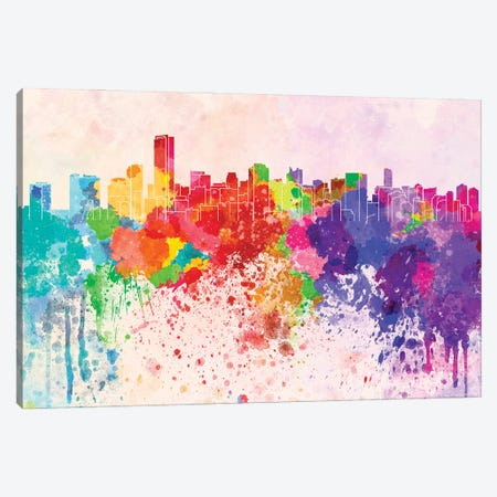 Miami Skyline In Watercolor Background Canvas Print #PUR1551} by Paul Rommer Canvas Art