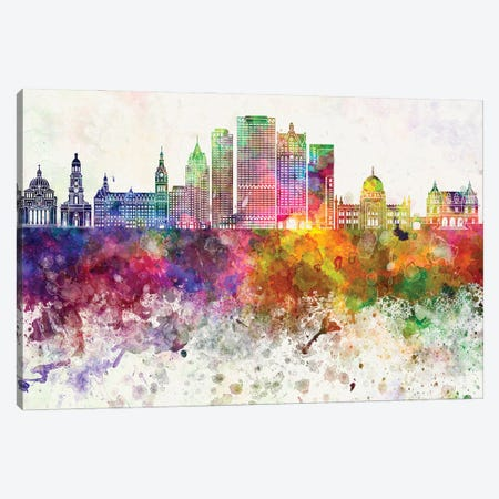 Milwaukee II Skyline In Watercolor Background Canvas Print #PUR1555} by Paul Rommer Canvas Art Print