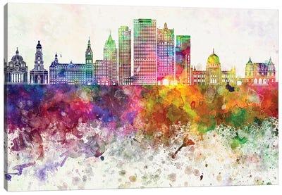 Milwaukee II Skyline In Watercolor Background Canvas Art Print