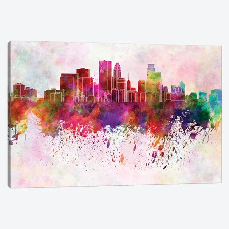 Minneapolis Skyline In Watercolor Background Canvas Print #PUR1556} by Paul Rommer Art Print