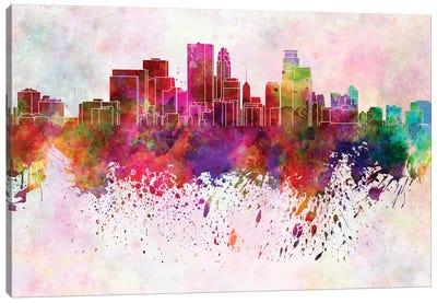Minneapolis Skyline In Watercolor Background Canvas Art Print