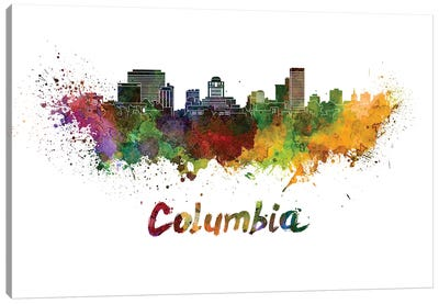 Columbia Skyline In Watercolor Canvas Art Print