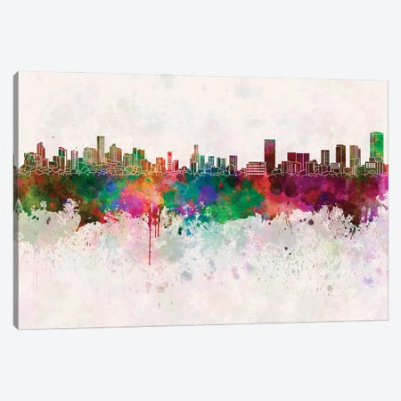Monterrey Skyline In Watercolor Background Canvas Print #PUR1561} by Paul Rommer Art Print