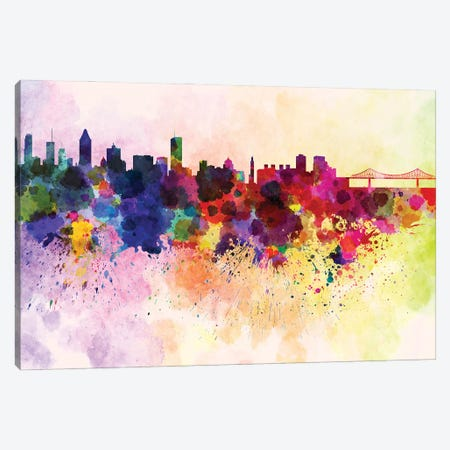 Montreal Skyline In Watercolor Background Canvas Print #PUR1564} by Paul Rommer Canvas Artwork