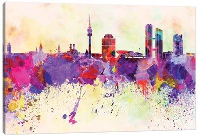 Munich Skyline In Watercolor Background Canvas Art Print