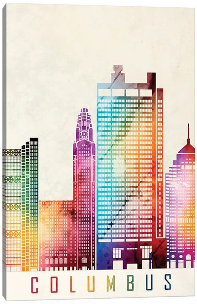 Columbus Landmarks Watercolor Poster Canvas Art Print