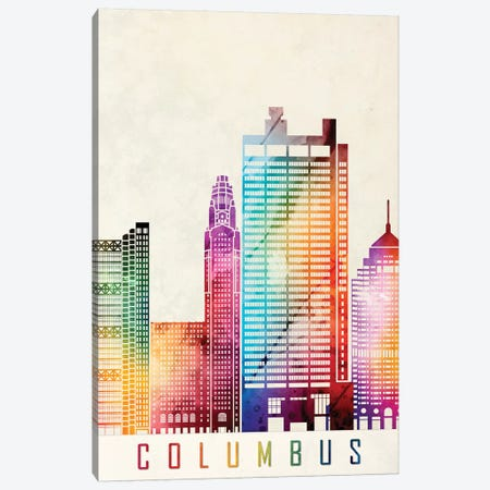 Columbus Landmarks Watercolor Poster Canvas Print #PUR156} by Paul Rommer Art Print