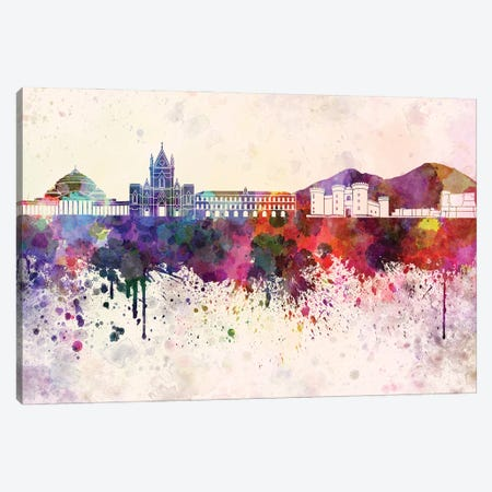 Naples Skyline In Watercolor Background Canvas Print #PUR1573} by Paul Rommer Canvas Artwork