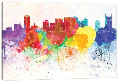 Nashville Skyline In Watercolor Background Canvas Art Print