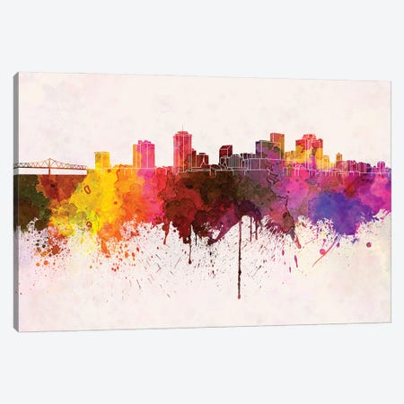 New Orleans Skyline In Watercolor Background Canvas Print #PUR1578} by Paul Rommer Canvas Wall Art