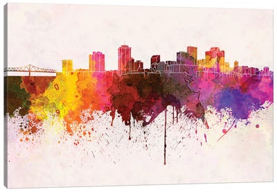 New Orleans Skyline In Watercolor Background Canvas Art Print