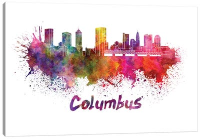 Columbus Skyline In Watercolor Canvas Art Print