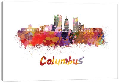Columbus Skyline In Watercolor II Canvas Art Print